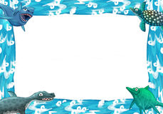 Water / wave frame with animals dinosaurs Royalty Free Stock Image