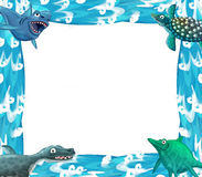 Water / wave frame with animals dinosaurs Stock Photos