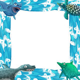 Water / wave frame with animals dinosaurs Stock Photography