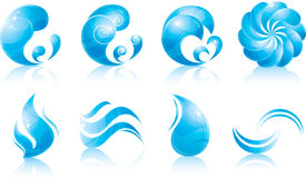 Water & wave icon set. Glossy water & wave  set Royalty Free Stock Photography