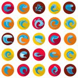 Water wave icons set, flat style. Water wave icons set. Flat illustration of 25 water wave vector icons circle isolated on white Stock Photography