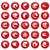 Water wave icons set vetor red. Water wave icons set. Simple illustration of 25 water wave vector icons red isolated Stock Image