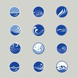Water and wave icons Royalty Free Stock Images