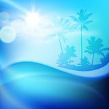 Water wave and island with palm trees Royalty Free Stock Images