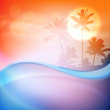 Water wave and island with palm trees Royalty Free Stock Photos