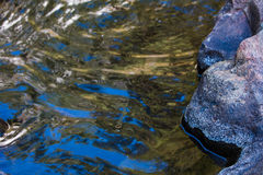 Water wave reflect close up, low view. And rock,Colorful patterns of blue Stock Photos