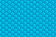 Water wave seamless patterns. Seamless blue curling wave pattern with a repeat motif in square format suitable for wallpaper or fabric design Stock Photography