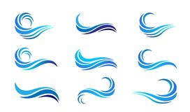 Water wave set sea waves Ocean beach logo Template vector Clean water drop concept logo icon element sign on white background