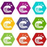 Water wave splash icon set color hexahedron Royalty Free Stock Photos