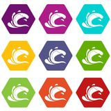Water wave splash icon set color hexahedron Royalty Free Stock Images