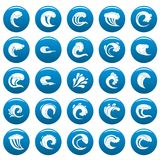 Water wave vector icons set blue, simple style. Water wave icons set blue. Simple illustration of 25 water wave vector icons for web Stock Photos