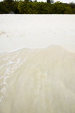 Water wave on white sand on beach with greenery Royalty Free Stock Photography