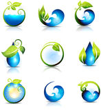 Water waves and drops. Amazing nature symbols. Water, leafs, waves and sun. Clean and fresh feeling. Can be used also in health care industry Royalty Free Stock Image