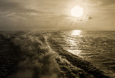 Water waves made by boat Royalty Free Stock Image