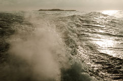 Water waves made by boat Stock Photo