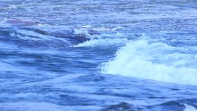 Water waves in moon light stock footage