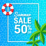 Water waves and 50% off for summer sale discounts. Blue water waves and 50% off for summer sale discounts Royalty Free Stock Photo