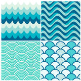 Water waves retro patterns Royalty Free Stock Images