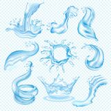 Water waves splash vector drop of waterfall transparent splashing liquid aqua set watering illustration isolated on. Water waves splash vector drop of waterfall vector illustration