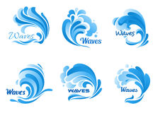 Water waves and splashes vector icons Royalty Free Stock Photography