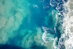 Water and waves. Water that is stirred up by a ship Royalty Free Stock Photo