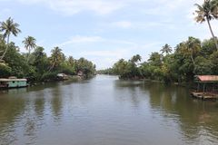 Water way. Best sea view with coconut tress and hard rock belt Royalty Free Stock Photography