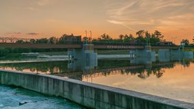 Water weir Jaz Opatowice on Oder river in Wroclaw, Poland. stock video footage