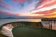 Water weir. In the sunrise Stock Image