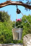 Water well with bucket. Particularly water well with bucket and colorful flowers Stock Images