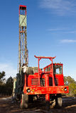 Water well drilling truck. In Texas hill country Royalty Free Stock Image