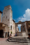Water well in Piazza della Cisterna at San Gimignano Stock Photo