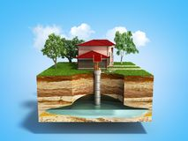 Water well system The image depicts an underground aquifer 3d re Stock Photography