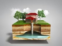 Water well system The image depicts an underground aquifer 3d re. Nder on grey Stock Images