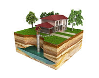 Water well system The image depicts an underground aquifer 3d re. Nder on white no shadow Stock Images