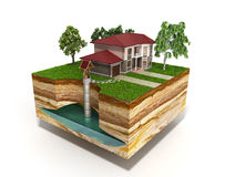 Water well system The image depicts an underground aquifer 3d re. Nder on white Royalty Free Stock Images