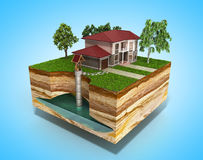 Water well system The image depicts an underground aquifer 3d re. Nder on blue Royalty Free Stock Photo