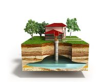 Water well system The image depicts an underground aquifer 3d re. Nder on white Royalty Free Stock Image