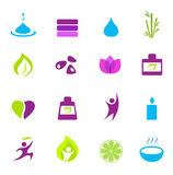 Water, wellness, aard en zen pictogrammen - roze Stock Foto