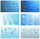 Water, wet cards. Water drops, wet cards collection Stock Images