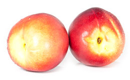 Water wetted nectarines Royalty Free Stock Image