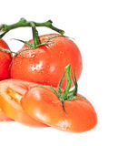Water wetted tomatoes Stock Image