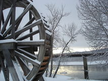 Water Wheel. In the snow stock photos