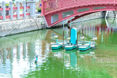 Water wheel floating on canal city.  royalty free stock photography