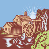Water Wheel Mill House Retro. Illustration of a water wheel mill house watermill with flowing river done on retro woodcut style Stock Photography