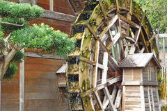 Water wheel on old grist mill. In forest Royalty Free Stock Photography