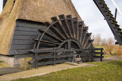 Water wheel an old  polder mill from close Royalty Free Stock Photography