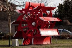 Water wheel of a paddle steamer in red. In the Landscap from Dessau Roßlau stock photos