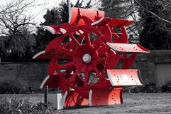 Water wheel of a paddle steamer in red. In the Landscap from Dessau Roßlau stock images
