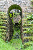 Water wheel Pit Pont y Pandy disused slate mill, north wales, UK Stock Image