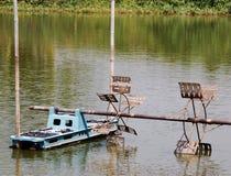 Water wheel. Shrimp farming waterwheel, equipment using for black-tiger shrimp (Penaeus monodon) and white shrimp (Penaeus vannamei) in Thailand Stock Images